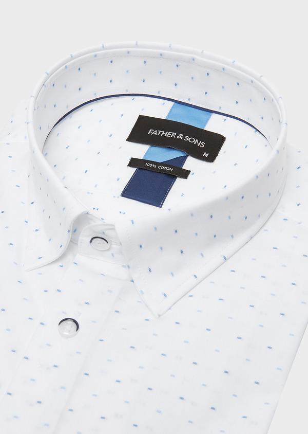 Chemise habillée Slim en coton Jacquard à motif fantaisie azur - Father and Sons 26143