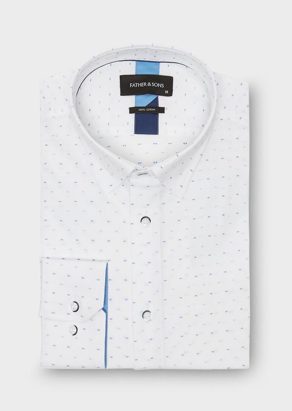 Chemise habillée Slim en coton Jacquard à motif fantaisie azur - Father and Sons 26141