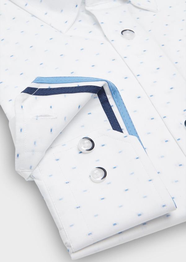 Chemise habillée Slim en coton Jacquard à motif fantaisie azur - Father and Sons 26144
