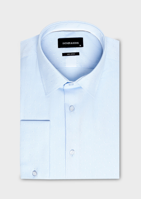 Chemise habillée Slim en coton Oxford à motif fantaisie bleu ciel - Father and Sons 27545