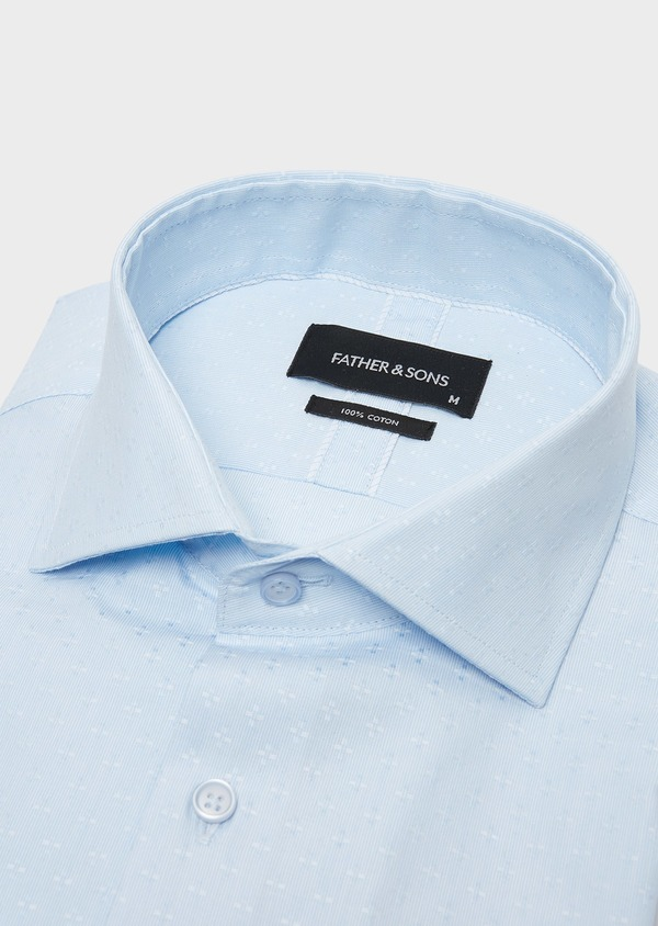 Chemise habillée Slim en coton Oxford ciel à motif fantaisie - Father and Sons 26190