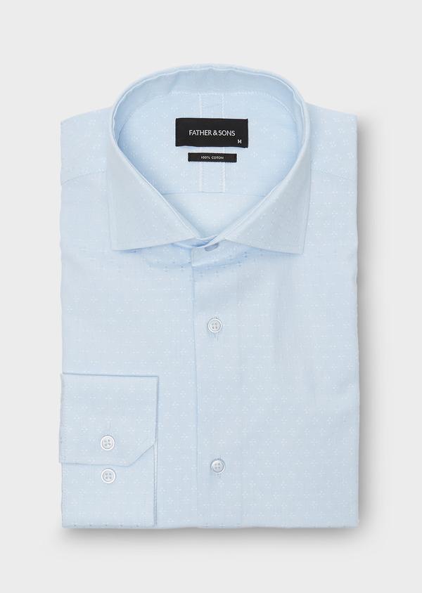 Chemise habillée Slim en coton Oxford ciel à motif fantaisie - Father and Sons 26188