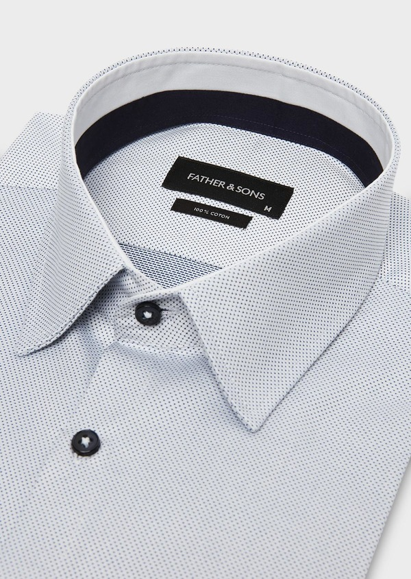 Chemise habillée Slim en coton Jacquard blanc à motif fantaisie bleu marine - Father and Sons 26103