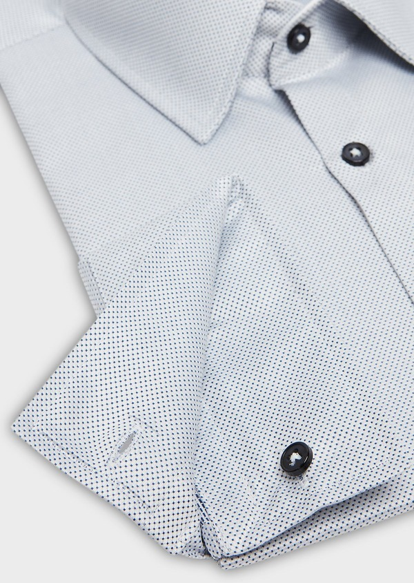 Chemise habillée Slim en coton Jacquard blanc à motif fantaisie bleu marine - Father and Sons 26104