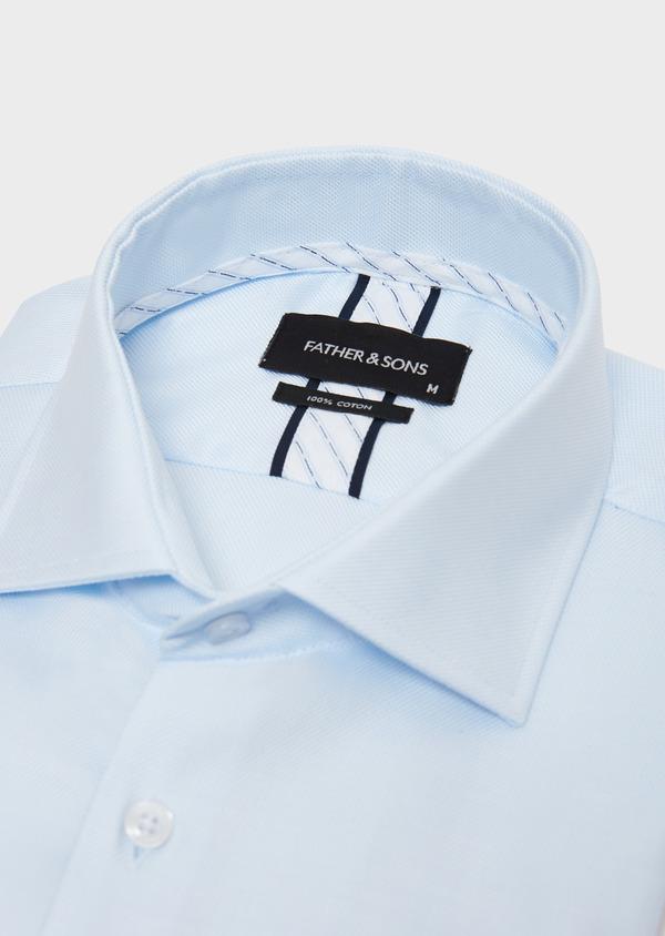 Chemise habillée Slim en coton façonné à motif fantaisie bleu ciel - Father and Sons 31755