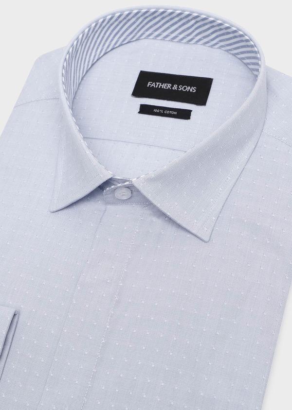 Chemise habillée Slim en popeline de coton bleu gris à motif fantaisie - Father and Sons 32284