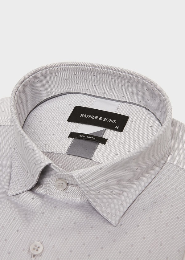 Chemise habillée Slim en coton façonné gris perle à motif fantaisie - Father and Sons 26150