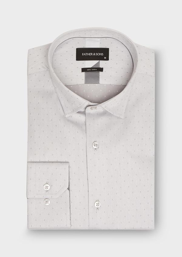 Chemise habillée Slim en coton façonné gris perle à motif fantaisie - Father and Sons 26148