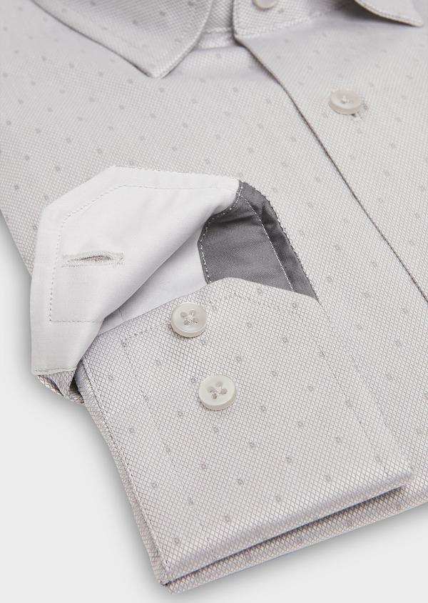 Chemise habillée Slim en coton façonné gris perle à motif fantaisie - Father and Sons 26151