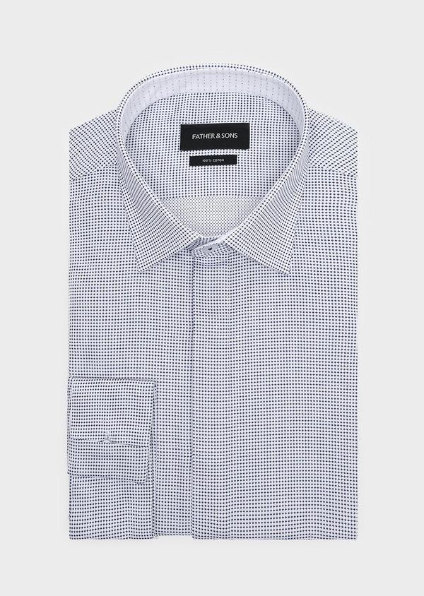 Chemise habillée Slim en coton Jacquard blanc à motif fantaisie bleu - Father and Sons 32302