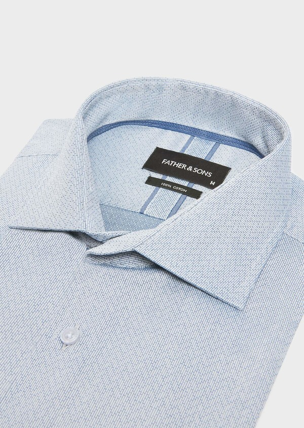 Chemise habillée Slim en popeline de coton bleu indigo à motif fantaisie blanc - Father and Sons 32436