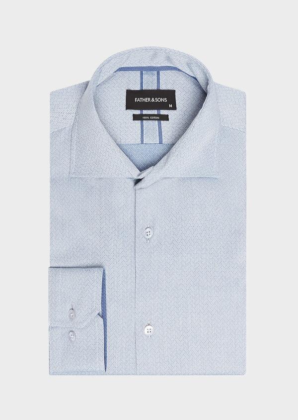 Chemise habillée Slim en popeline de coton bleu indigo à motif fantaisie blanc - Father and Sons 32434