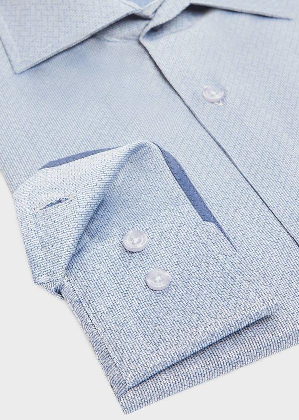 Chemise habillée Slim en popeline de coton bleu indigo à motif fantaisie blanc - Father and Sons 32437