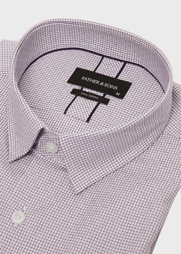 Chemise habillée Slim en popeline de coton violet à motif fantaisie - Father and Sons 26209