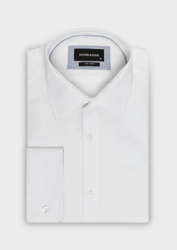 Chemise habillée Slim en coton blanc façonné à motif fleuri ton-sur-ton - Father and Sons 32414