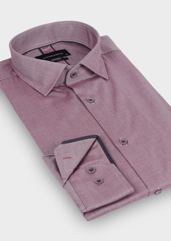 Chemise habillée Slim en coton façonné à motifs géométriques bordeaux - Father and Sons 29946