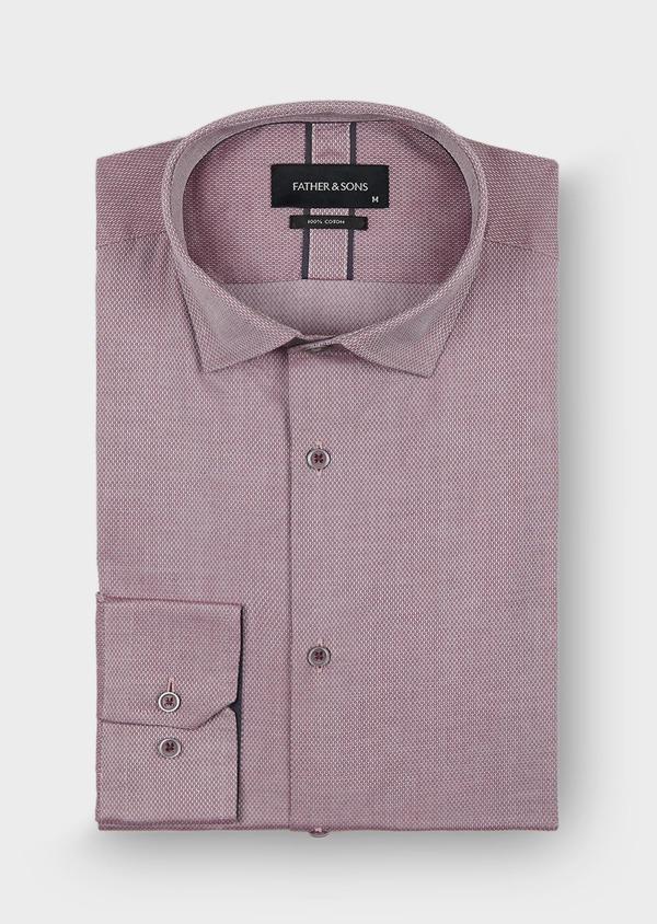 Chemise habillée Slim en coton façonné à motifs géométriques bordeaux - Father and Sons 29945