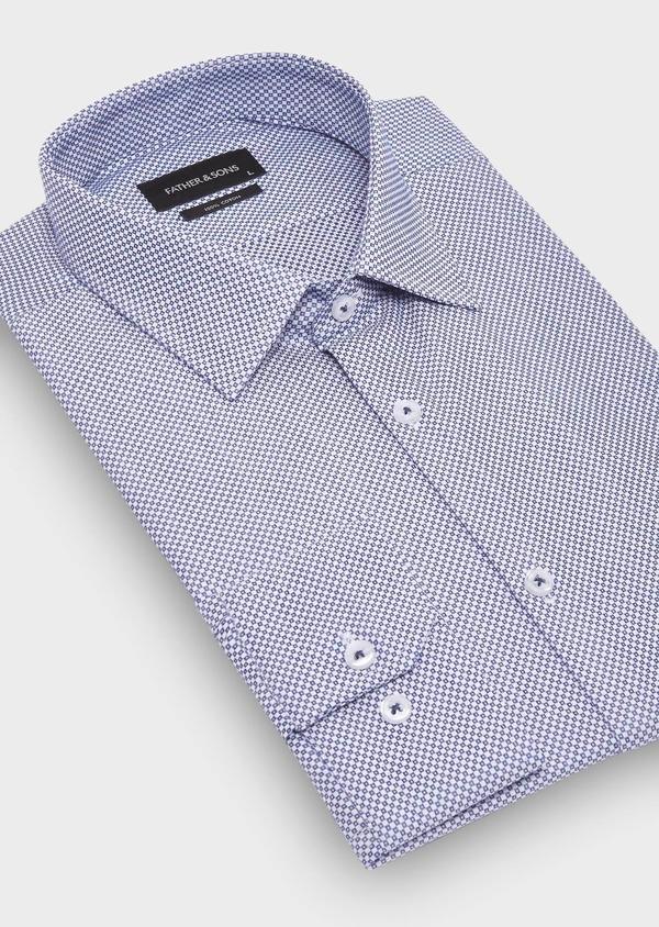 Chemise habillée Slim en popeline de coton à motifs géométriques bleus - Father and Sons 28676