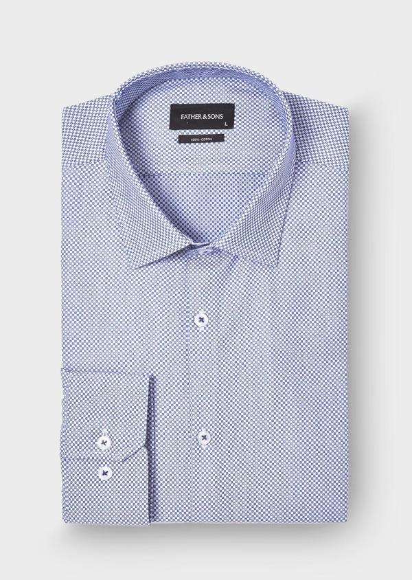 Chemise habillée Slim en popeline de coton à motifs géométriques bleus - Father and Sons 28675