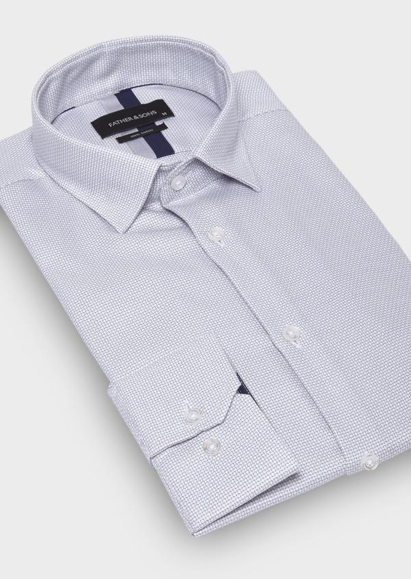 Chemise habillée Slim en coton façonné uni gris - Father and Sons 30046
