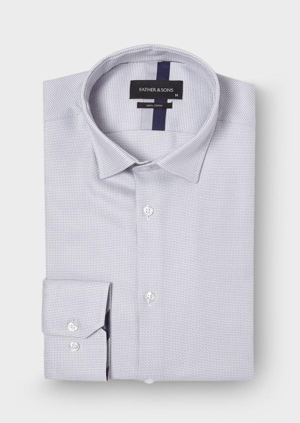 Chemise habillée Slim en coton façonné uni gris - Father and Sons 30045