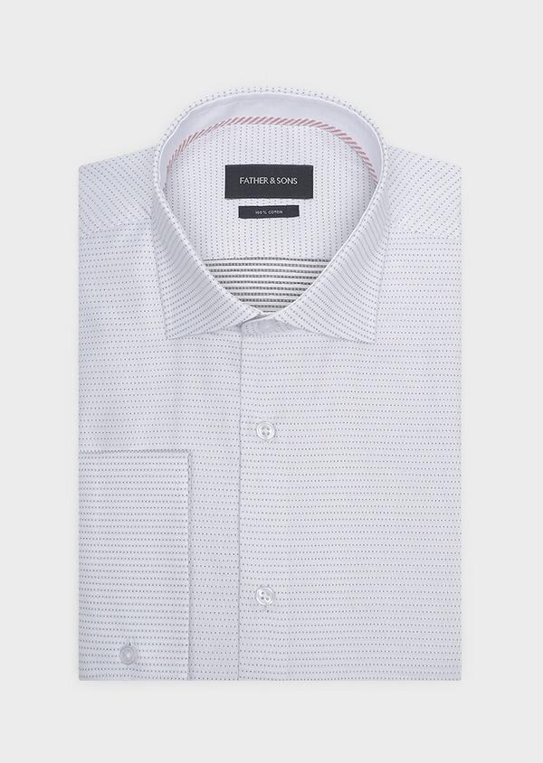 Chemise habillée Slim en coton Jacquard blanc à motif fantaisie noir - Father and Sons 32286