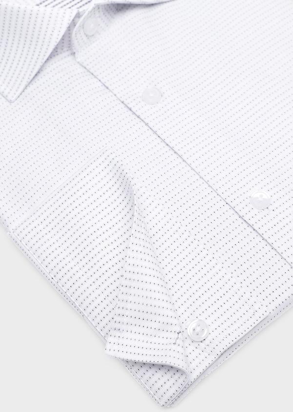 Chemise habillée Slim en coton Jacquard blanc à motif fantaisie noir - Father and Sons 32289