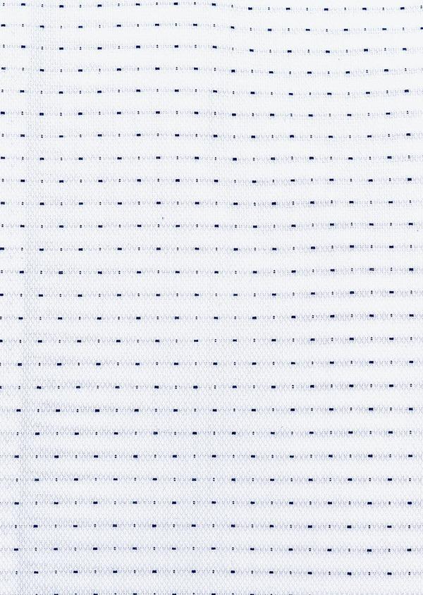 Chemise habillée Slim en coton façonné blanc à pois bleus - Father and Sons 32295