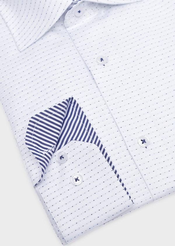 Chemise habillée Slim en coton façonné blanc à pois bleus - Father and Sons 32297