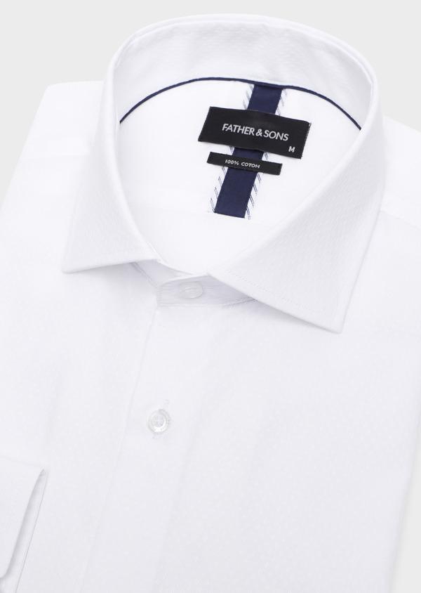 Chemise habillée Slim en coton façonné blanc à motif fantaisie ton-sur-ton - Father and Sons 32360