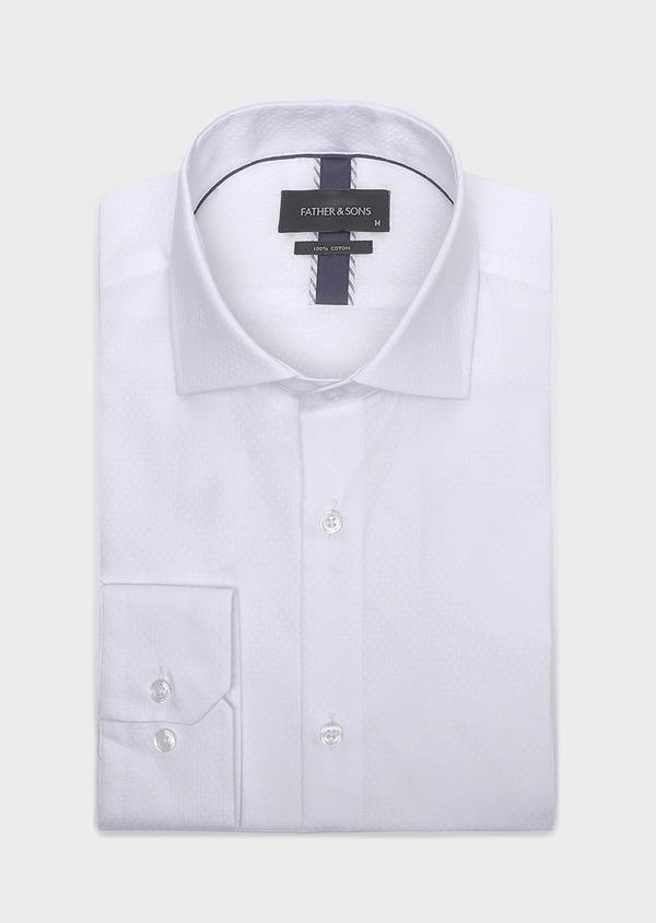 Chemise habillée Slim en coton façonné blanc à motif fantaisie ton-sur-ton - Father and Sons 32358