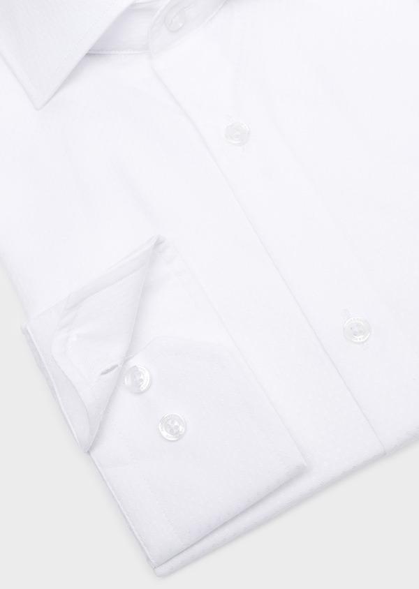 Chemise habillée Slim en coton façonné blanc à motif fantaisie ton-sur-ton - Father and Sons 32361