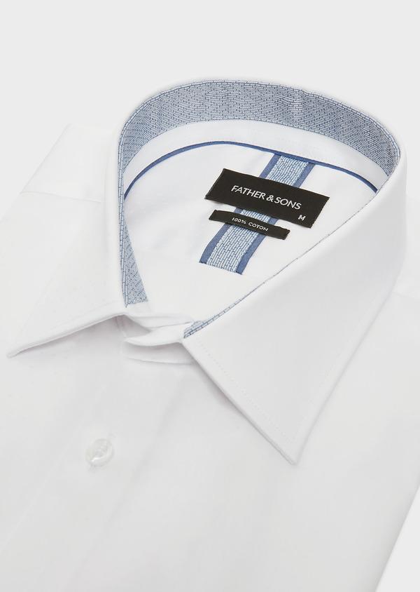 Chemise habillée Slim en popeline de coton blanc à pois ton-sur-ton - Father and Sons 32400