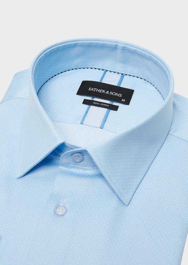 Chemise habillée Slim en coton sergé à pois azur - Father and Sons 26122
