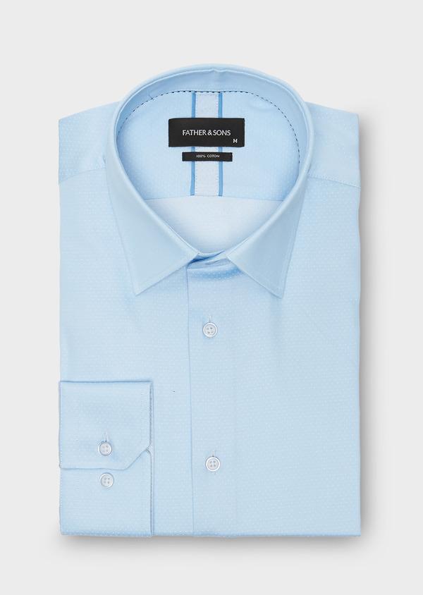 Chemise habillée Slim en coton sergé à pois azur - Father and Sons 26120