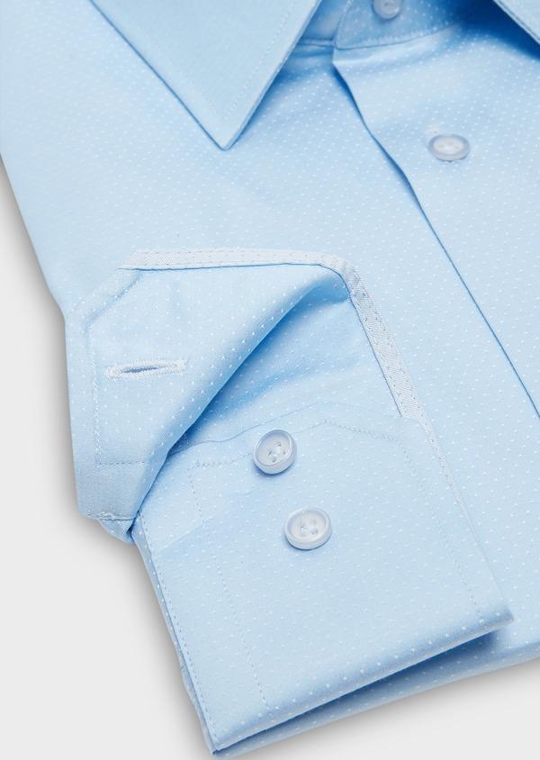 Chemise habillée Slim en coton sergé à pois azur - Father and Sons 26123
