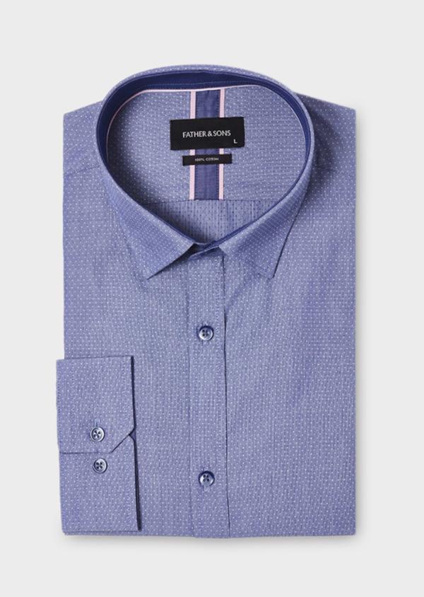 Chemise habillée Slim en coton bleu à pois - Father and Sons 18410