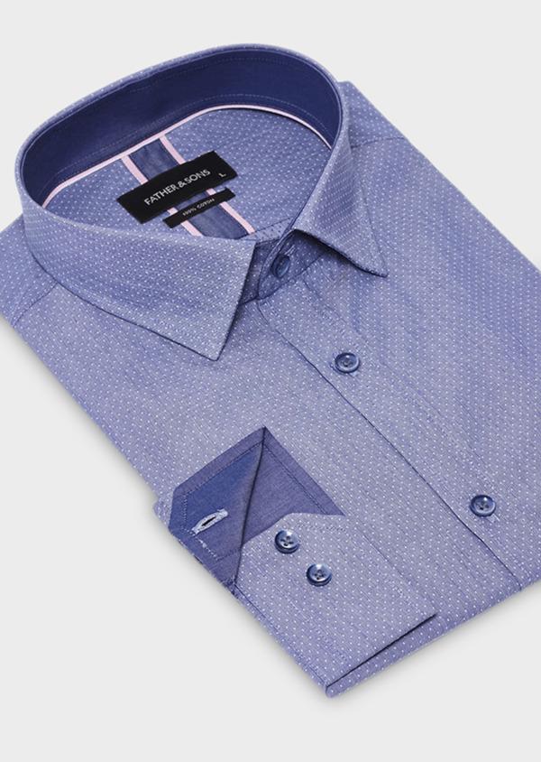 Chemise habillée Slim en coton bleu à pois - Father and Sons 18411