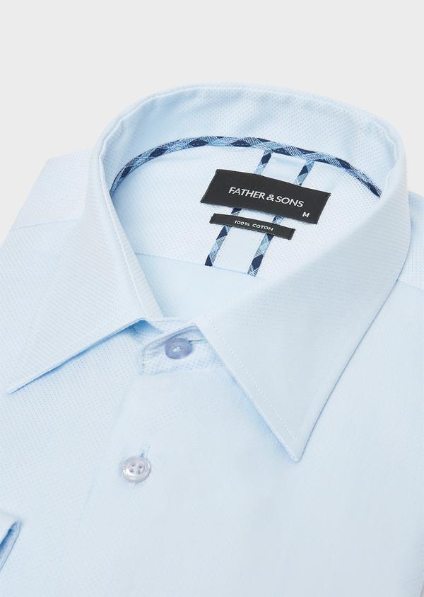 Chemise habillée Slim en popeline de coton bleu ciel à pois ton-sur-ton - Father and Sons 32336