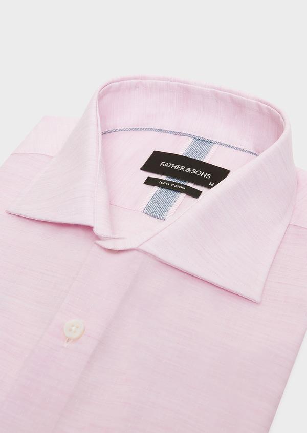 Chemise habillée Slim en pinpoint de coton rose à pois blancs - Father and Sons 32404