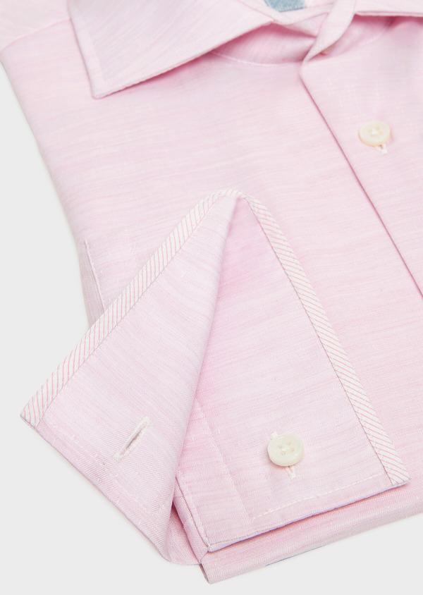 Chemise habillée Slim en pinpoint de coton rose à pois blancs - Father and Sons 32405