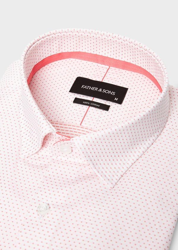 Chemise habillée Slim en popeline de coton à pois rose - Father and Sons 27526