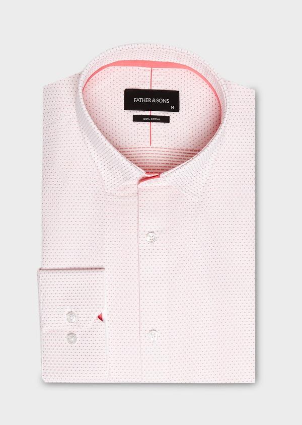 Chemise habillée Slim en popeline de coton à pois rose - Father and Sons 27524