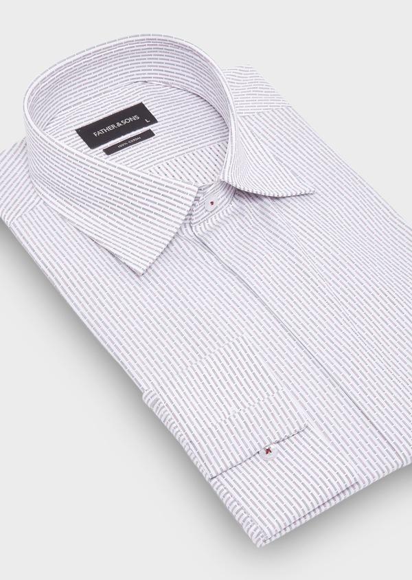 Chemise habillée Slim en coton Jacquard blanc à rayures bleu et bordeaux - Father and Sons 28656