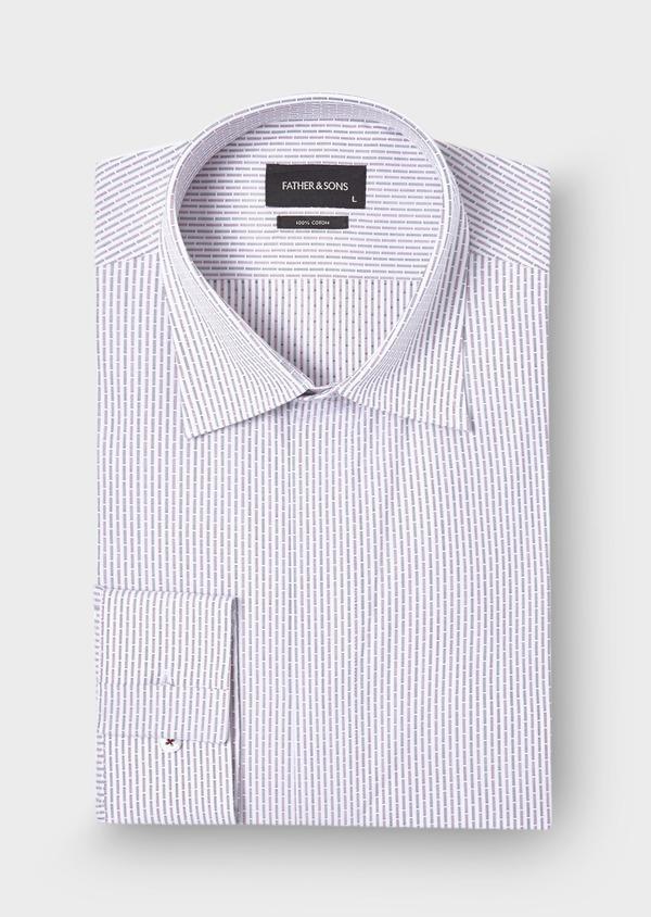 Chemise habillée Slim en coton Jacquard blanc à rayures bleu et bordeaux - Father and Sons 28655