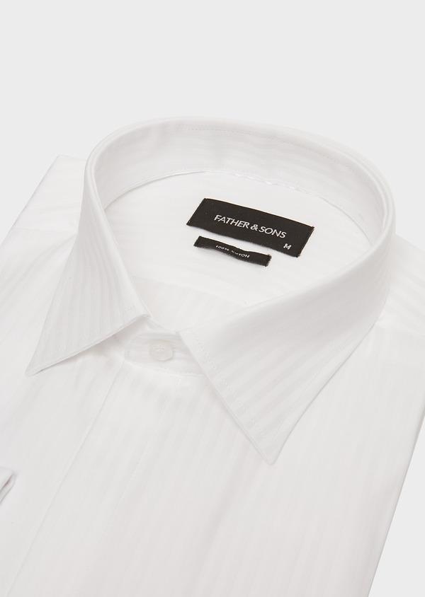 Chemise habillée Slim en coton façonné blanc à rayures ton sur ton - Father and Sons 26156