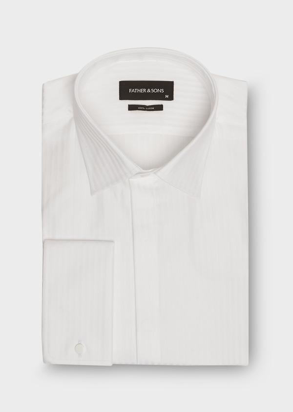 Chemise habillée Slim en coton façonné blanc à rayures ton sur ton - Father and Sons 26155