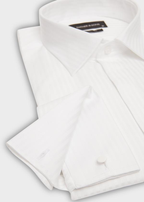 Chemise habillée Slim en coton façonné blanc à rayures ton sur ton - Father and Sons 26157