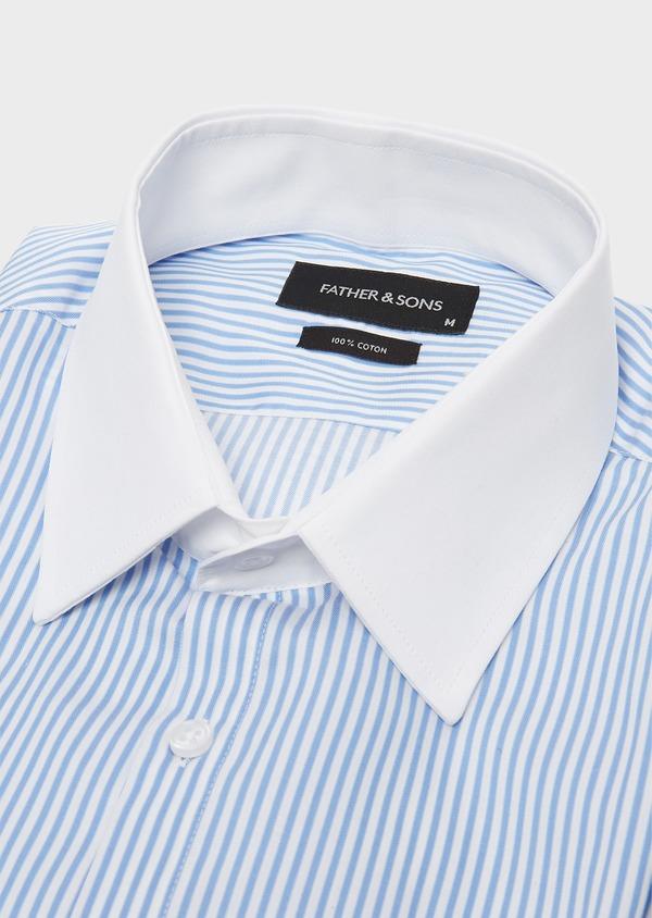 Chemise habillée Slim en popeline de coton à rayures bleu azur - Father and Sons 26077