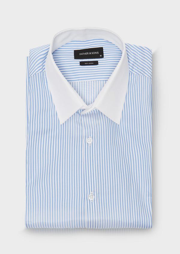 Chemise habillée Slim en popeline de coton à rayures bleu azur - Father and Sons 26075